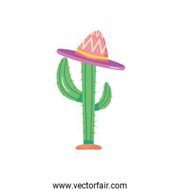 cactus with mexican hat icon, flat style