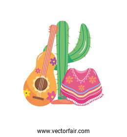 cactus with floral guitar and mexican poncho, flat style