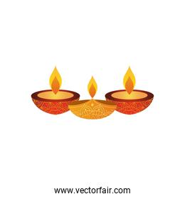 yellow and red diyas icon, flat style