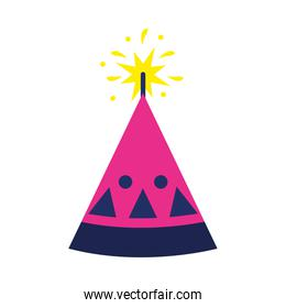 diwali fire cracker cone icon, flat style