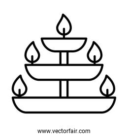 diwali burning candles icon, line style