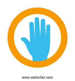 stop hand round sign icon, flat style