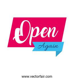 open again sign icon, flat style
