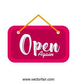 door sign with open again lettering design, flat style