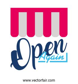 store tent with open again lettering design, flat style