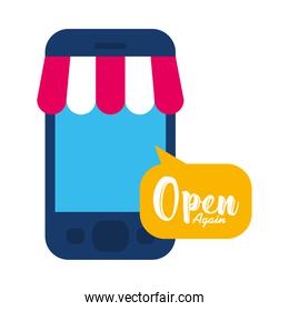 smartphone with store tent and speech bubble with open again lettering design, flat style