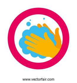 hand washing sign with hands with soapy water icon, flat style