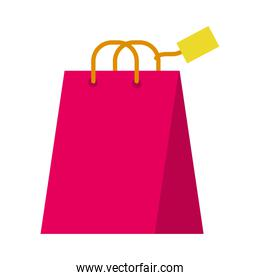 shopping bag with a tag, flat style