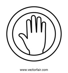 stop hand round sign icon, line style