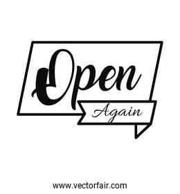 open again sign icon, line style