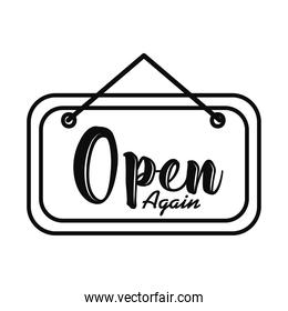 door sign with open again lettering design, line style