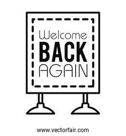 welcome back again sign icon, line style