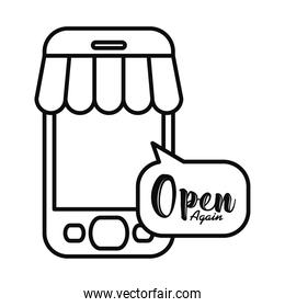 smartphone with store tent and speech bubble with open again lettering design, line style