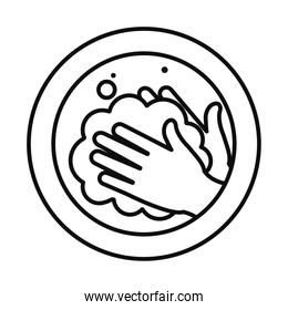 hand washing sign with hands with soapy water icon, line style