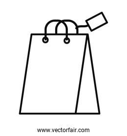shopping bag with a tag, line style