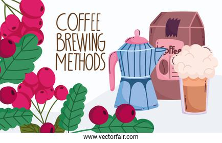 coffee brewing methods, moka pot pack product frappe and branch grains