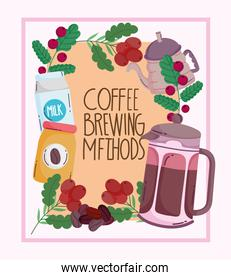 coffee brewing methods, vintage poster with kettle pack milk and frame with grains
