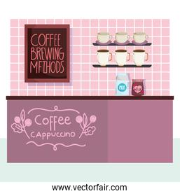 coffee brewing methods, counter with milk pack coffee cups and board