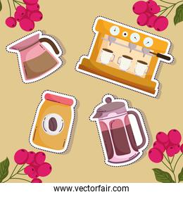 coffee brewing methods, cappuccino machine kettle french press bottle and grains background