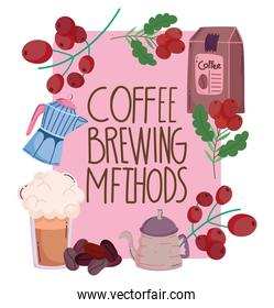 coffee brewing methods, greeting card kettle frappe pack and grains