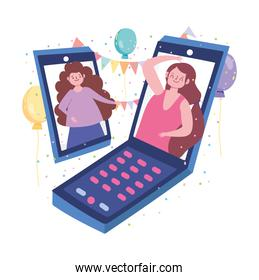 online party, happy cartoon women connected by smartphone