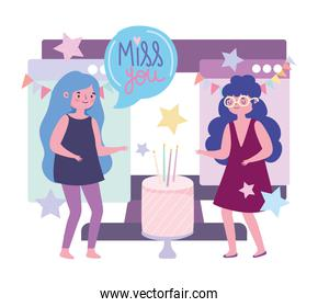 online party, cartoon girls celebrating with cake connected with computer
