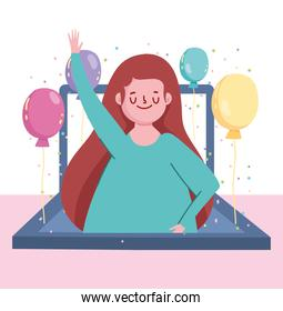 online party, laptop screen happy woman with balloons celebration