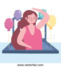 online party, laptop screen dancing woman with balloons celebration