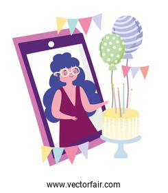 online party, woman cartoon on screen mobile with cake and balloons
