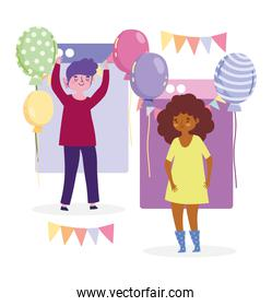 online party, young cartoon man and woman website balloons decoration and celebration