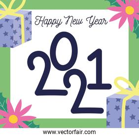 2021 happy new year, greeting card flowers gifts decoration