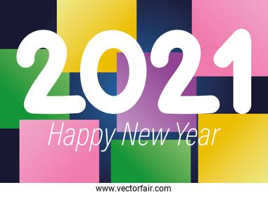2021 happy new year lettering color blocks background