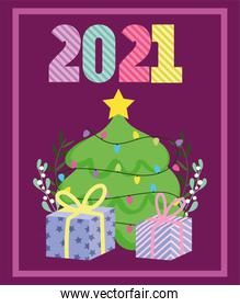 2021 happy new year, decorative tree and gift boxes card