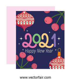 2021 happy new year, font with balls and holly berry banners