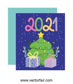 2021 happy new year, color numbers with tree and gift surprise