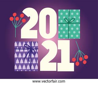 2021 happy new year, gift boxes and holly berry
