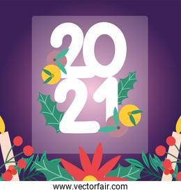2021 happy new year, numbers with fruits flowers blurred background