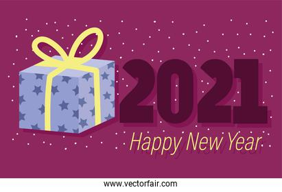 2021 happy new year, starry gift box with dots background