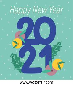 2021 happy new year, dotted background with numbers fruit and leaf