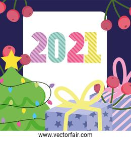2021 happy new year, tree with gifts box and berries decoration