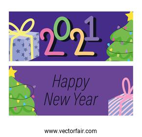 2021 happy new year, banner decorative tree gift boxes cartoon