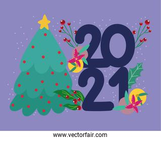2021 happy new year, tree with fruits and leaf decorative numbers