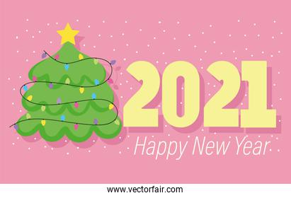 2021 happy new year, lettering and tree decoration lights