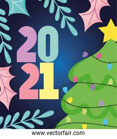 2021 happy new year, tree cartoon numbers and leaves