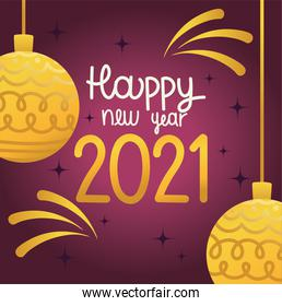 happy new year 2021, gold balls and fireworks celebration