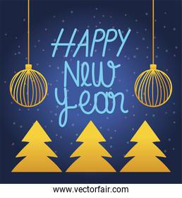 happy new year 2021, handwritten letters pine trees and balls