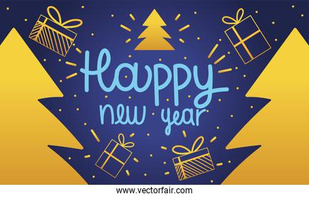 happy new year 2021, banner lettering gold gift and trees