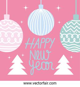happy new year 2021, cute balls and trees on pink background