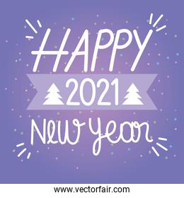 happy new year 2021, hand drawn lettering purple background