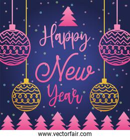 happy new year 2021, gradient pink balls trees and lettering